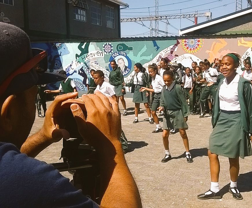 HtH filming a music video with a school
