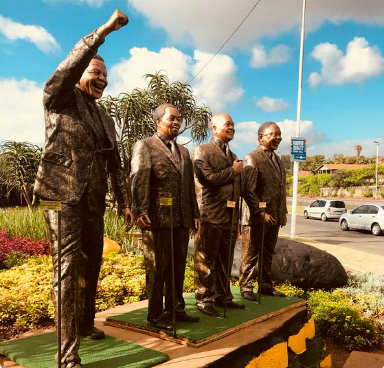 A set of sculptures of ANC leaders erected in Durban recently. A decision to fund two new sculptures of Nelson Mandela and Oliver Tambo have been slated for their over inflated price tag.  Pic from the internet