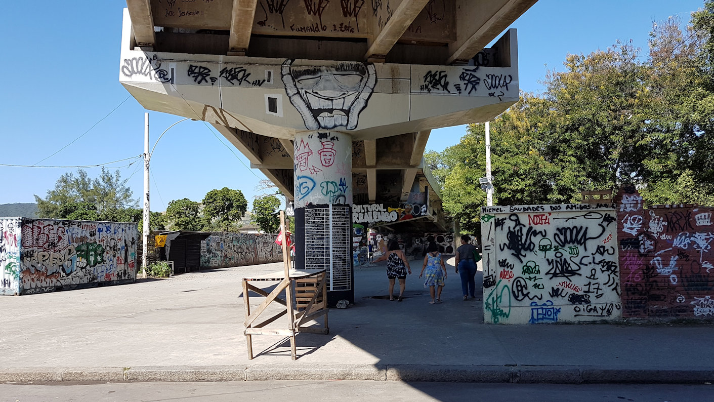 The flyover and the landscape of the Realengo neighbourhood. Photo by Claudia Seldin, 2018