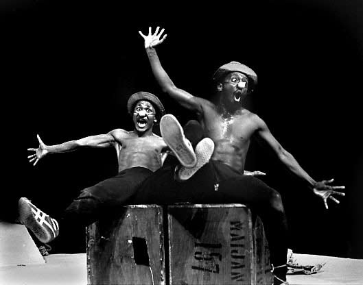 Woza Albert - a lauded piece of physical theatre rooted in struggle theatre aesthetics (late 1980s), which was incubated at the Market Theatre. Pic from the internet