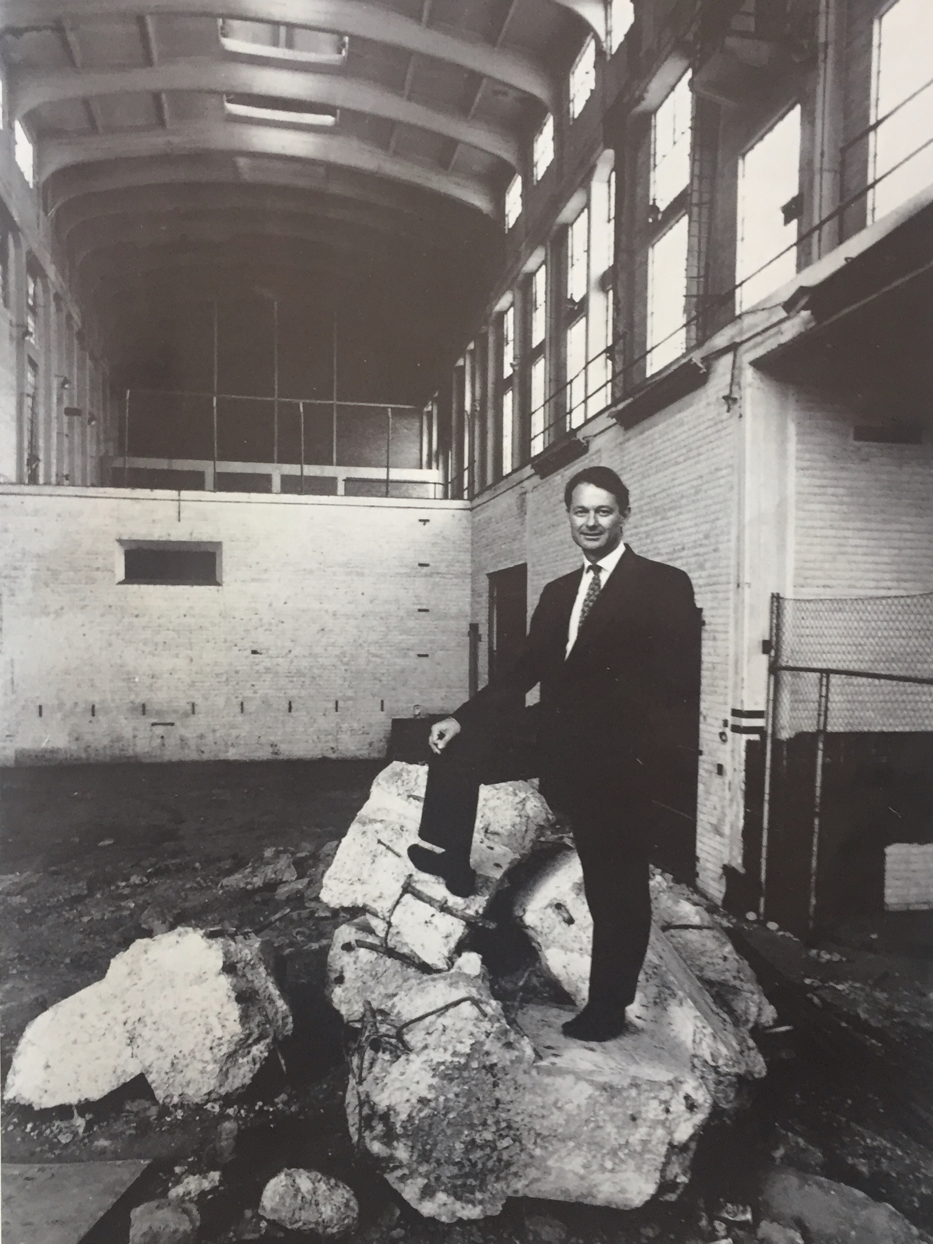 Christopher Till, then Director of Arts and Culture for the City of Johannesburg, in the shell of the soon to be developed multi-use events space - The Electric Workshop. Photo ADA Magazine