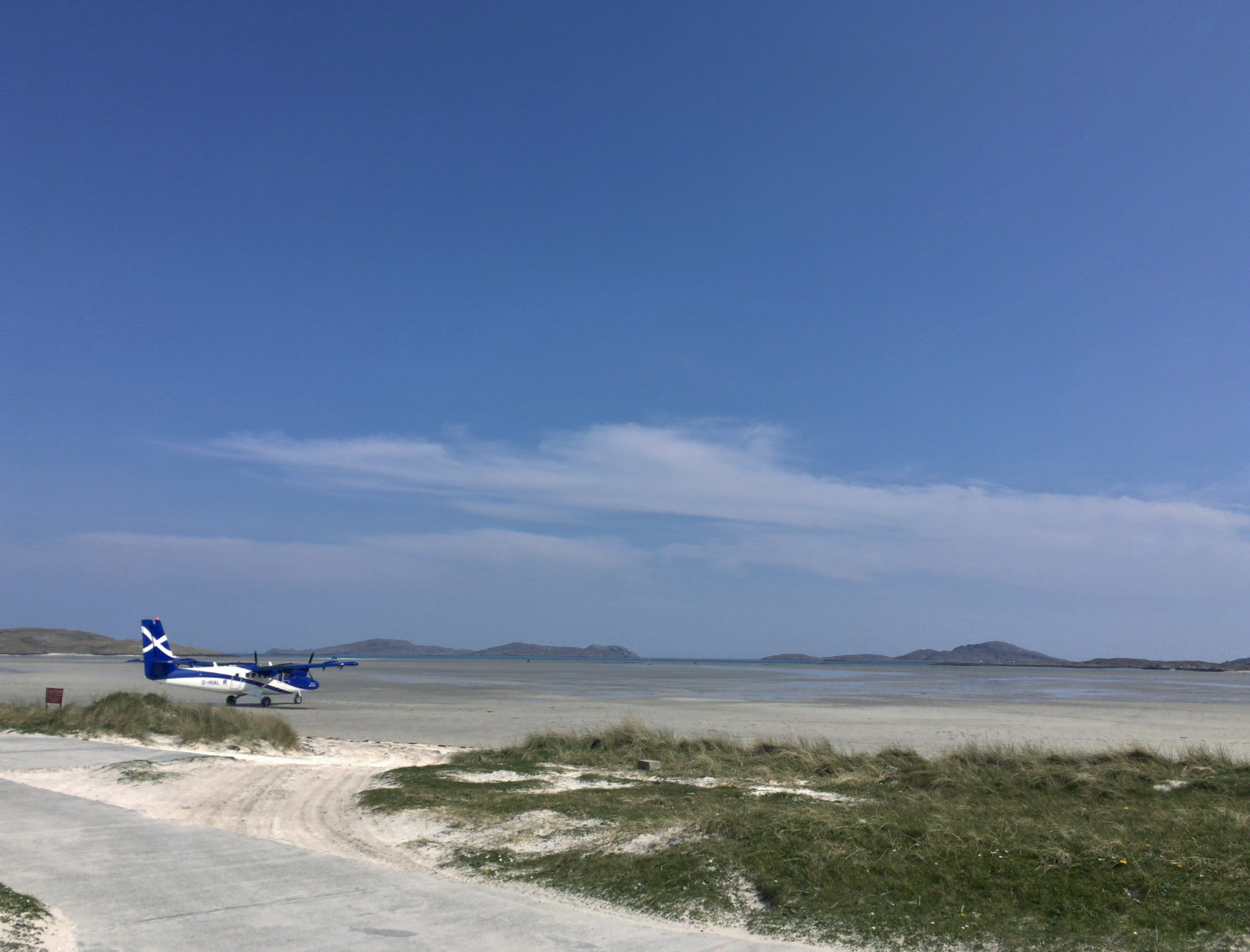 De Havilland Twin Otter ready to take off from Traigh Mhor, Barra (iPhone)