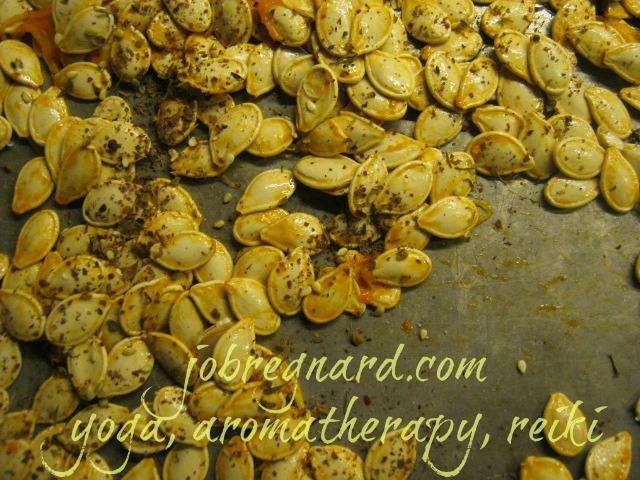 Za'atar pumpkin seeds, ready for roasting