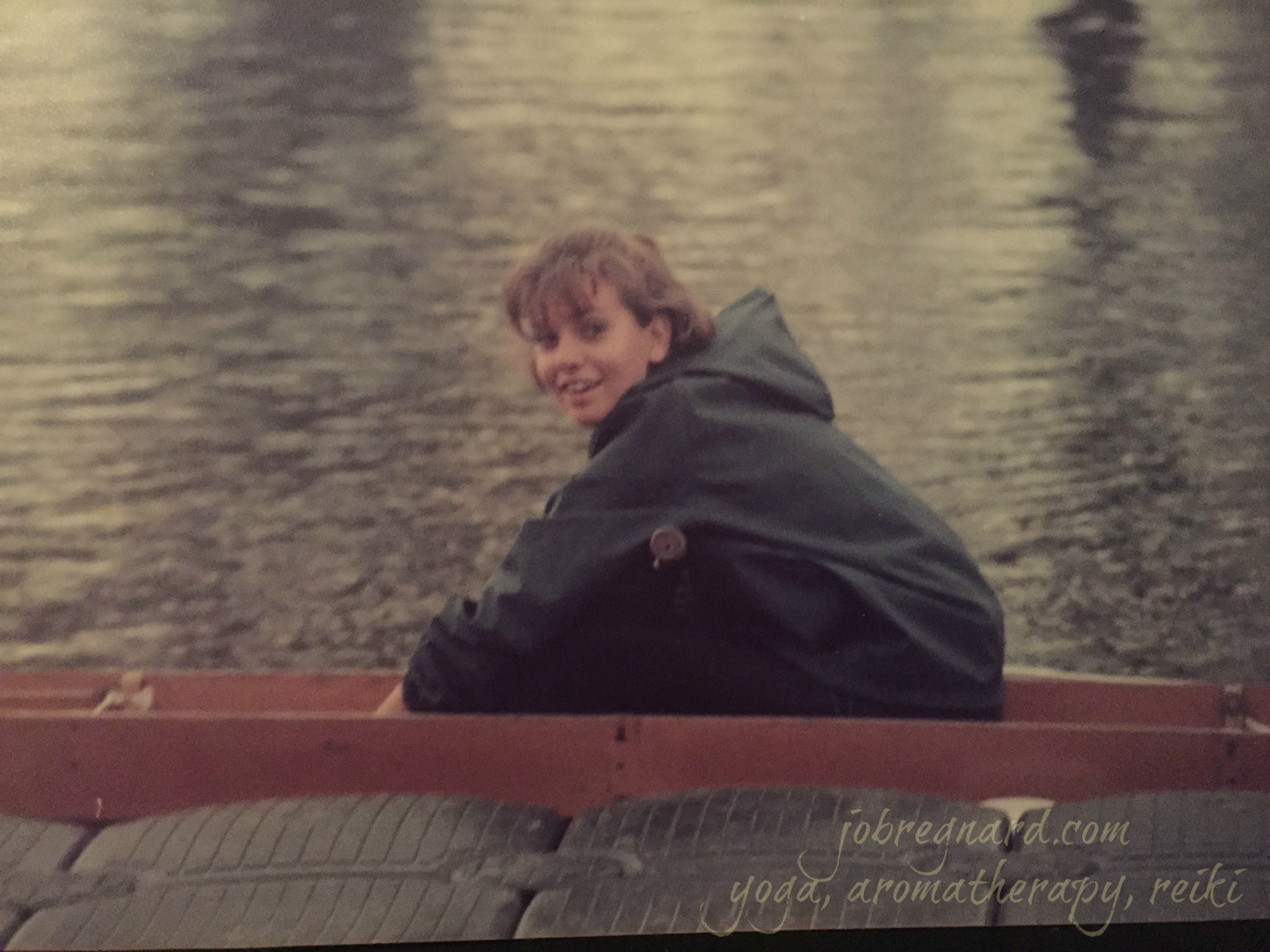Tying in to my stretcher on Onondaga Lake, circa October 1985.