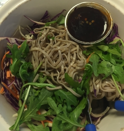 This is  Wildflour's  soba noodle salad. It's colorful, delicious, and fills me up for the afternoon when I'm at work. I feel like I could make something similar at home. That sauce though ...