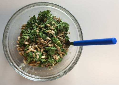 Pickin's were getting slim the last few days before our trips--and I hate to compost anything I don't have to--so I was thrilled to find a recipe for  parsley salad  ... and by  Alton Brown , one of my favorite chefs. I riffed off his recipe here. I try to make my own dressings so I can avoid the ubiquitous vinegar, but when time is short I like the dressings from  Drew's Organics .