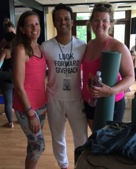 "Sam and I were tired and sweaty with that "" yoga glow "" by our last Wanderlust class when we met DJ Taz"