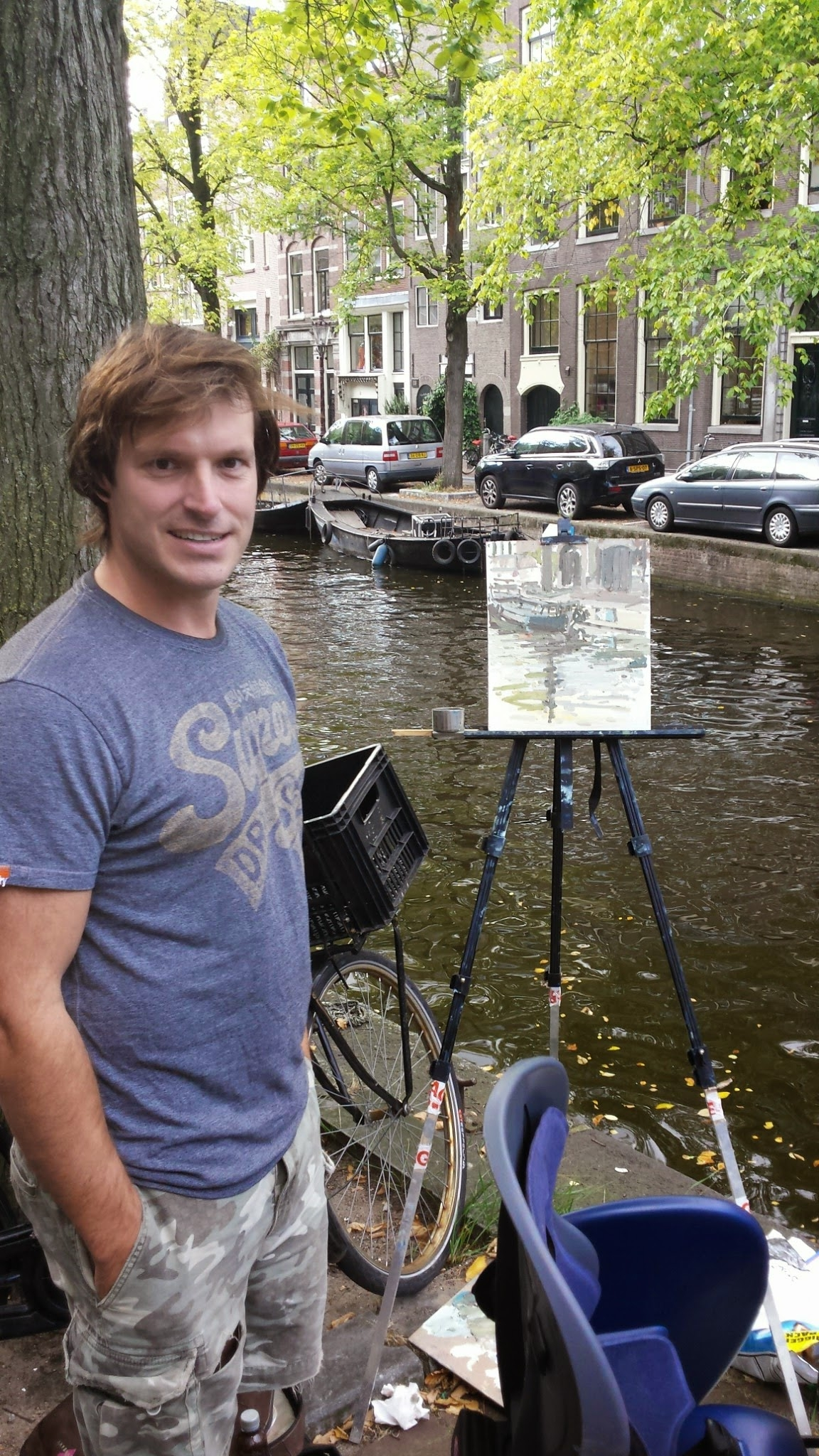 In Amsterdam painting near the Leidesplein