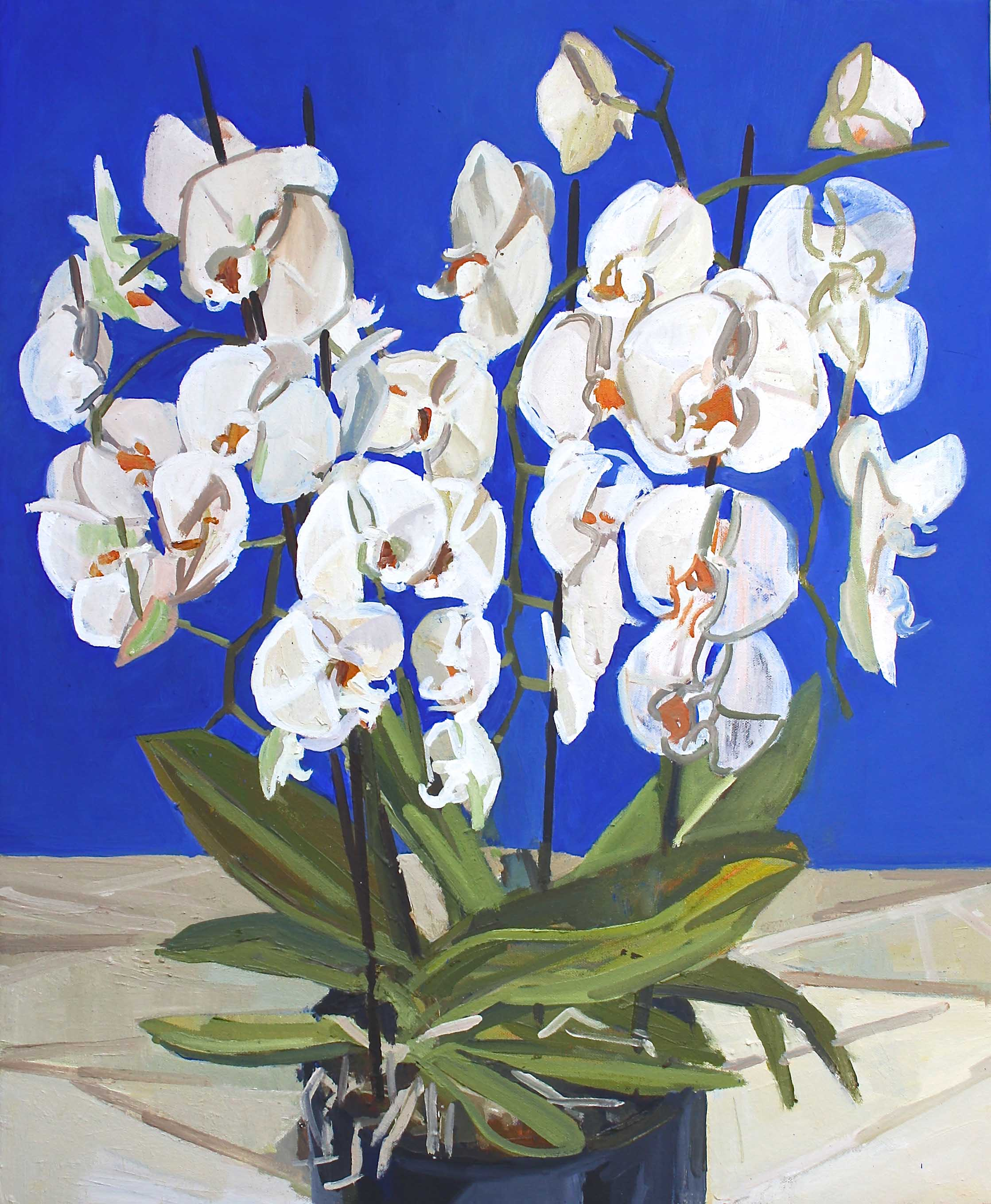 73 x 60 cm White Orchid, Oil on Canvas