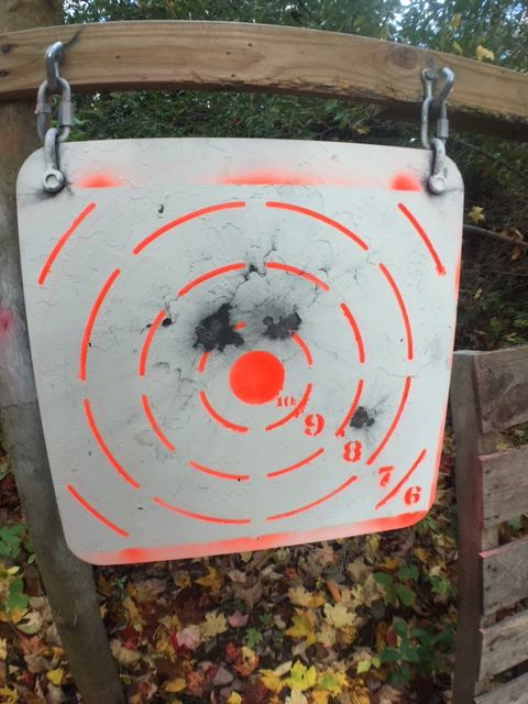 There are 5 hits here - the two at the top of the 10-ring are both doubles. I was able to see where each shot hit, as the spot grew substantially which each shot. But, this is still a limitation of the system.