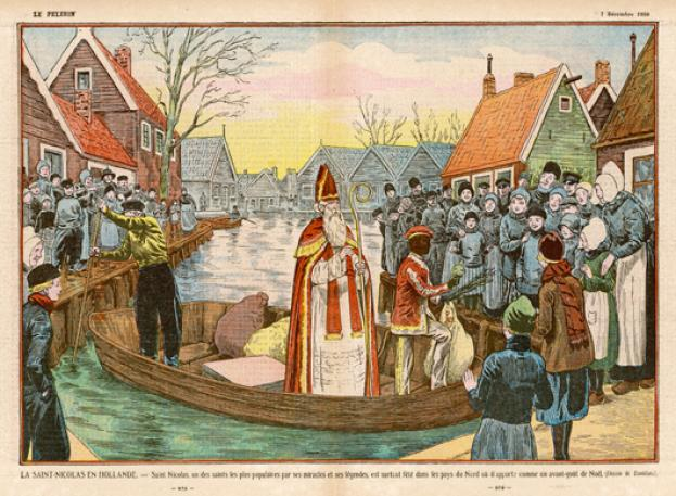 This illustration shows Saint Nicholas arrive with one of the Zwarte Piet
