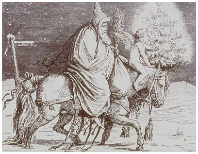 One of the depictions of Knecht Ruprecht, riding a white horse
