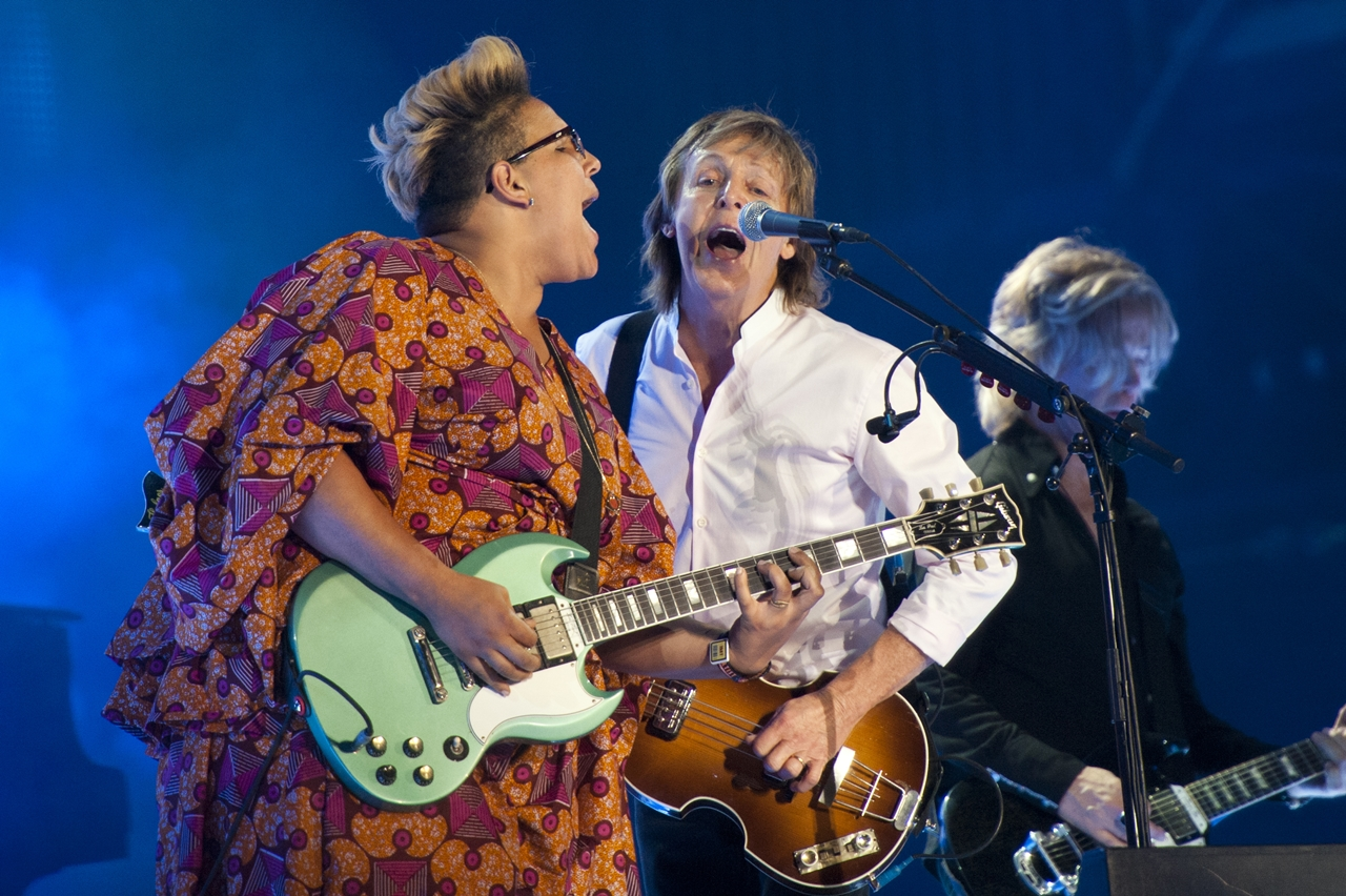 Brittany Howard and Paul McCartney performing at Lollapalooza in 2015