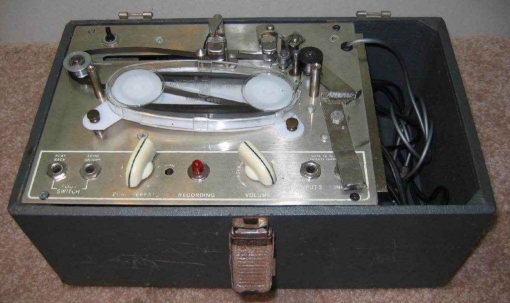 The Echoplex EP1 is an early 1960's tube-powered tape delay. The one pictured above is an EP2 which is nearly the same as the EP1 save for a few controls and hardware features.