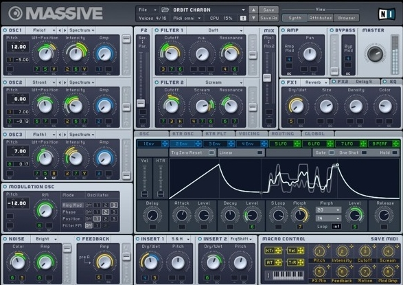 MASSIVE is a software synth with multiple oscillators and assignable LFOs capable of making the synth sounds you hear in  Used To.