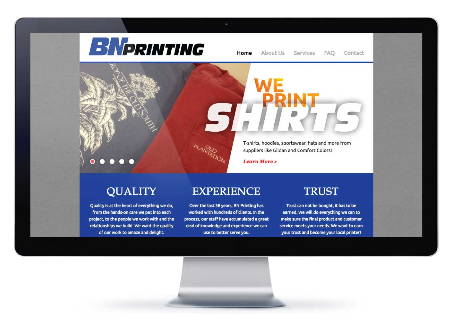Custom-coded website.  Visit BN Printing's website »