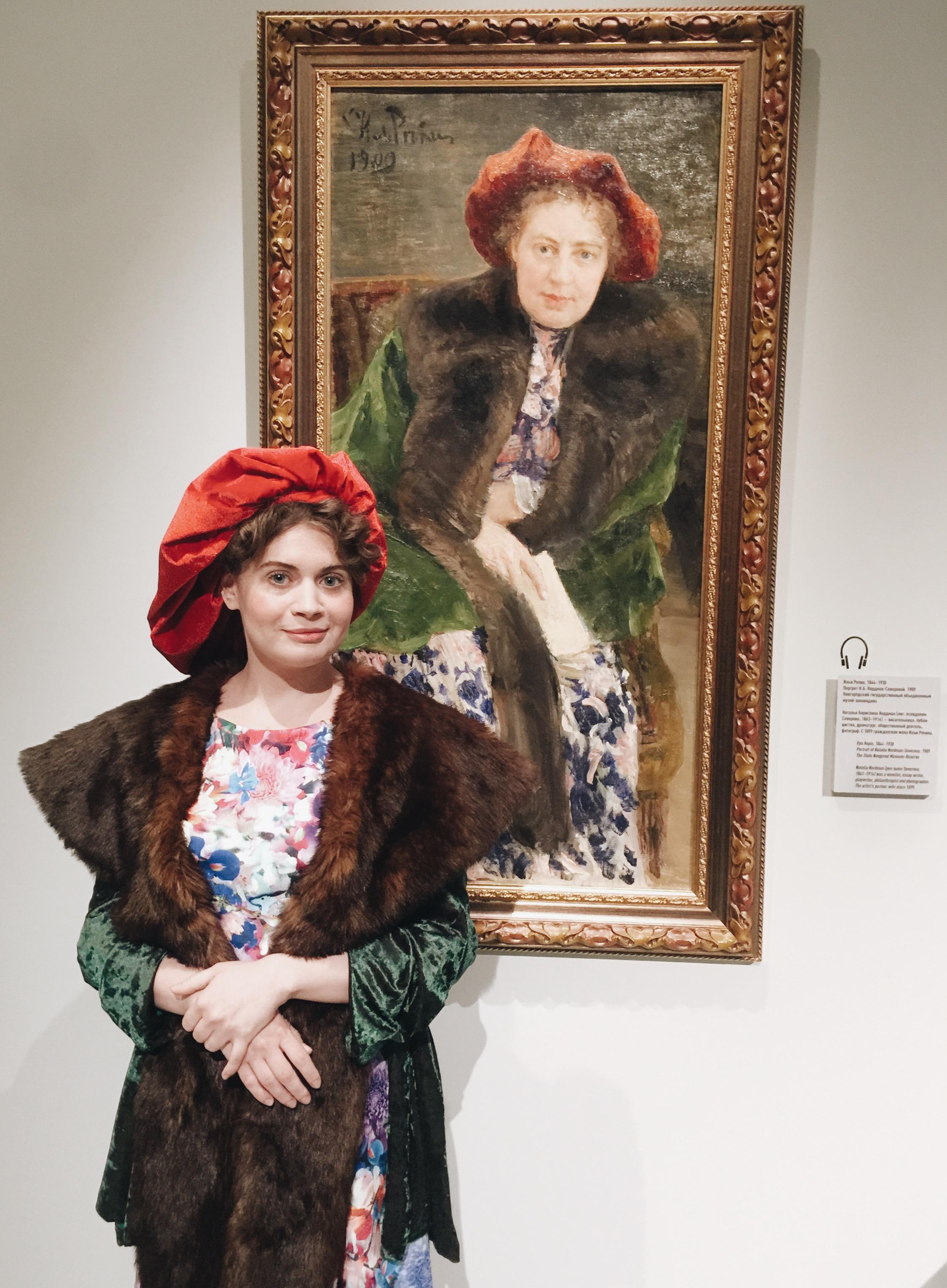 Two representations of Ms Natalia Nordman - Severova: life model & a painting by Ilya Repin (1909, Novgorod Museum)