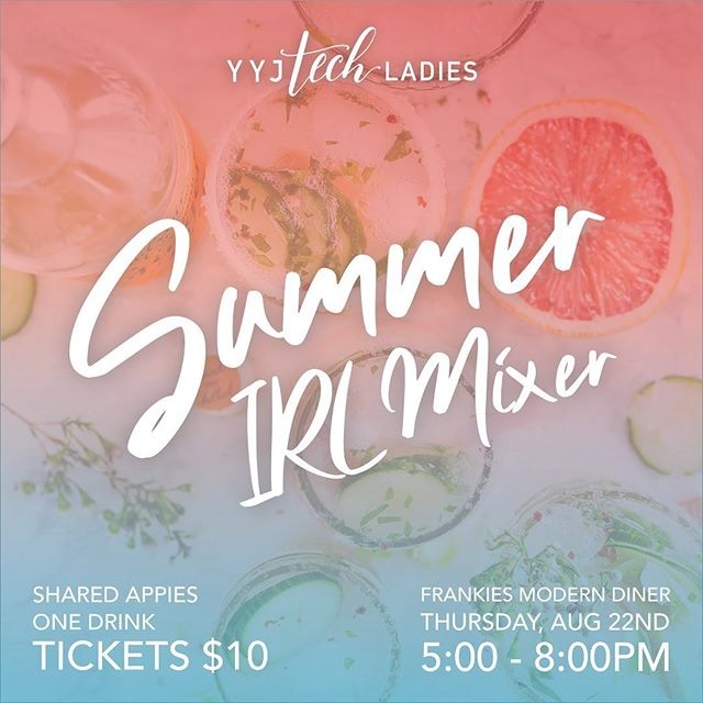 We just launched the eventbrite for our annual Summer IRL Mixer! Join us at @frankiesmoderndiner on August 22nd for drinks, snacks, and great company! .  Shout out to the talented @tatiannalandrydesign who does all our design for us! 😍 .  Ticket link in bio (click Attend)! .  #yyjtechladies #yyjtechevents #yyjtech #womenintech #summer #summermixer #techladies #yyjevents