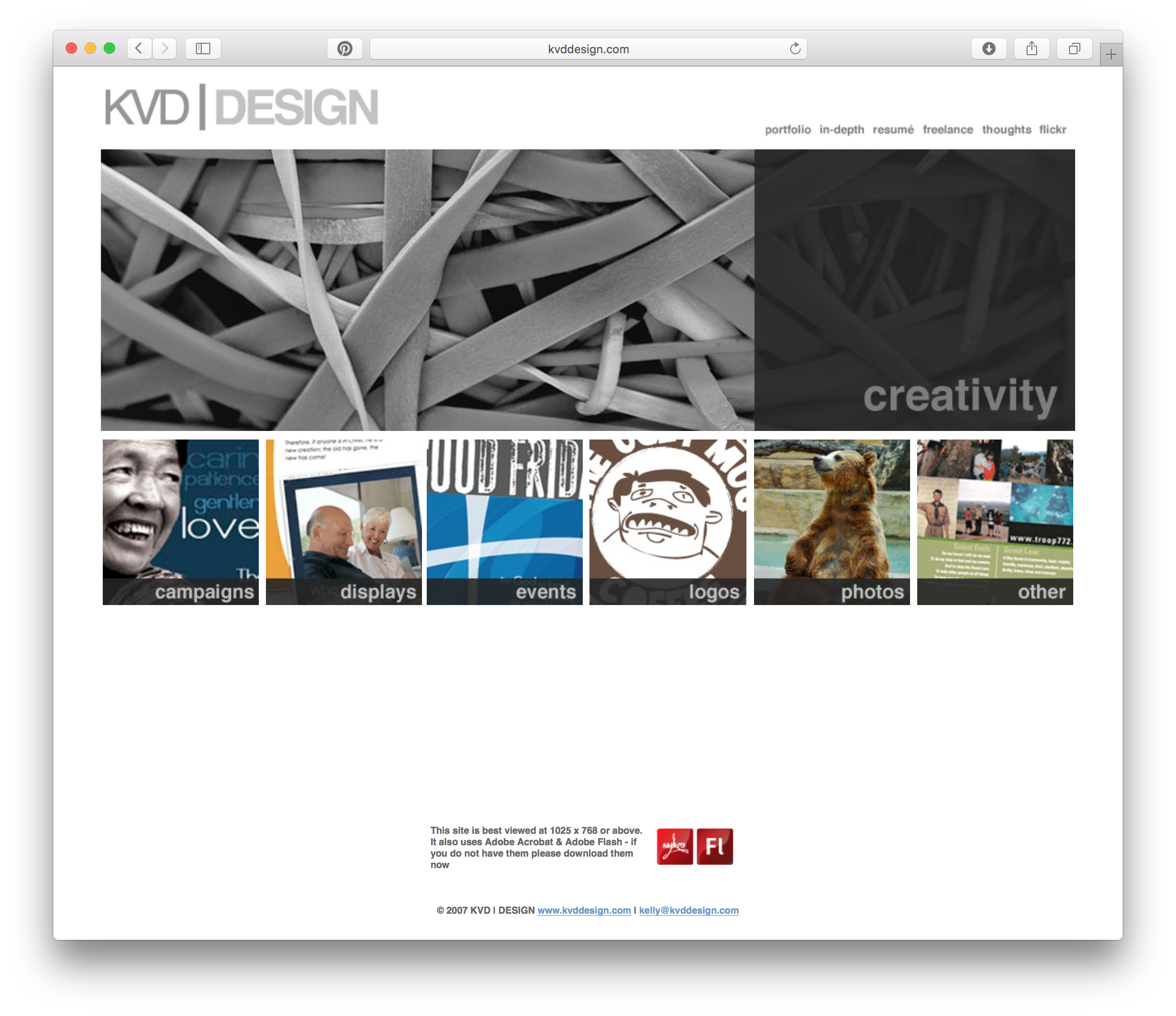 Screen shot of the old site