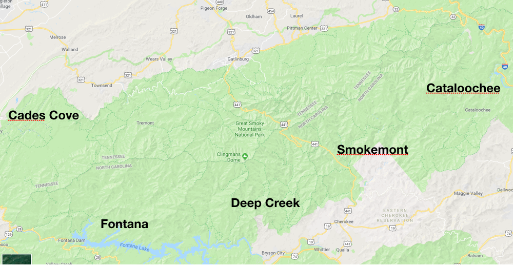 An overview of some of the regions in the Smokies. It can take over three hours to drive from one region to another so knowing where you are headed for the day is a big deal.