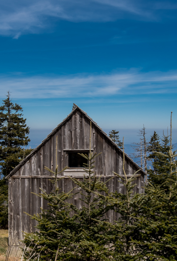 Small Weathered Cabin High on Mountain Top