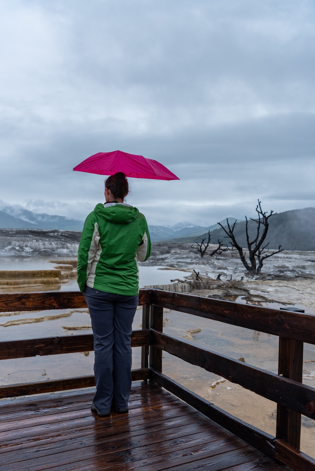 Woman with Pink Umbrella Looks Out Over Hot Springs