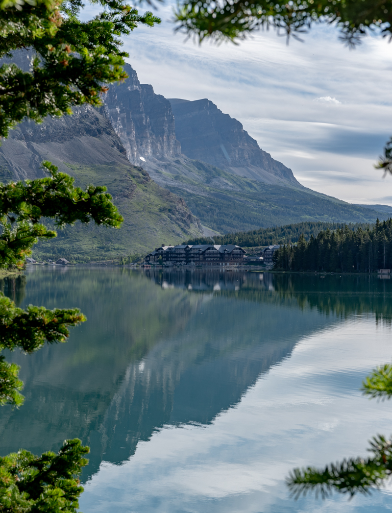 Looking Across Swiftcurrent Lake At Many Glacier Hotel