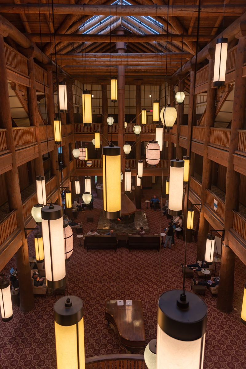 Looking Down On Many Glacier Hotel Atrium