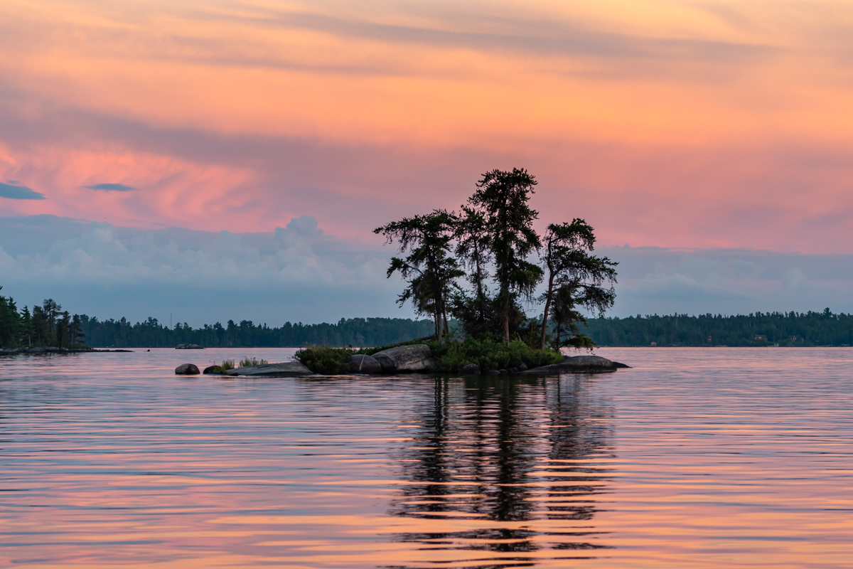 Small Island in Front of Pink Sunset
