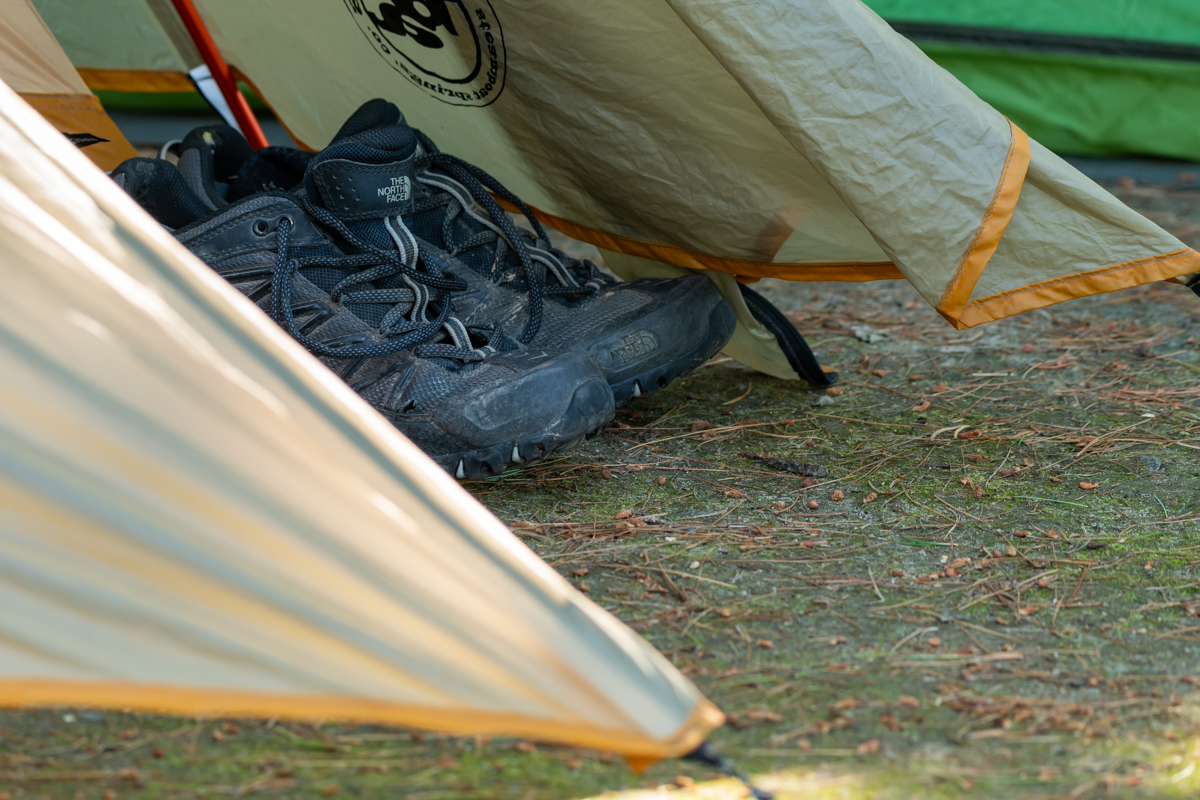 Hiking Boots Rest Outside Tent