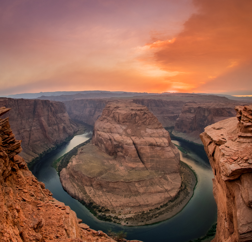 Orange Clouds LIght Up Over Horseshoe Bend