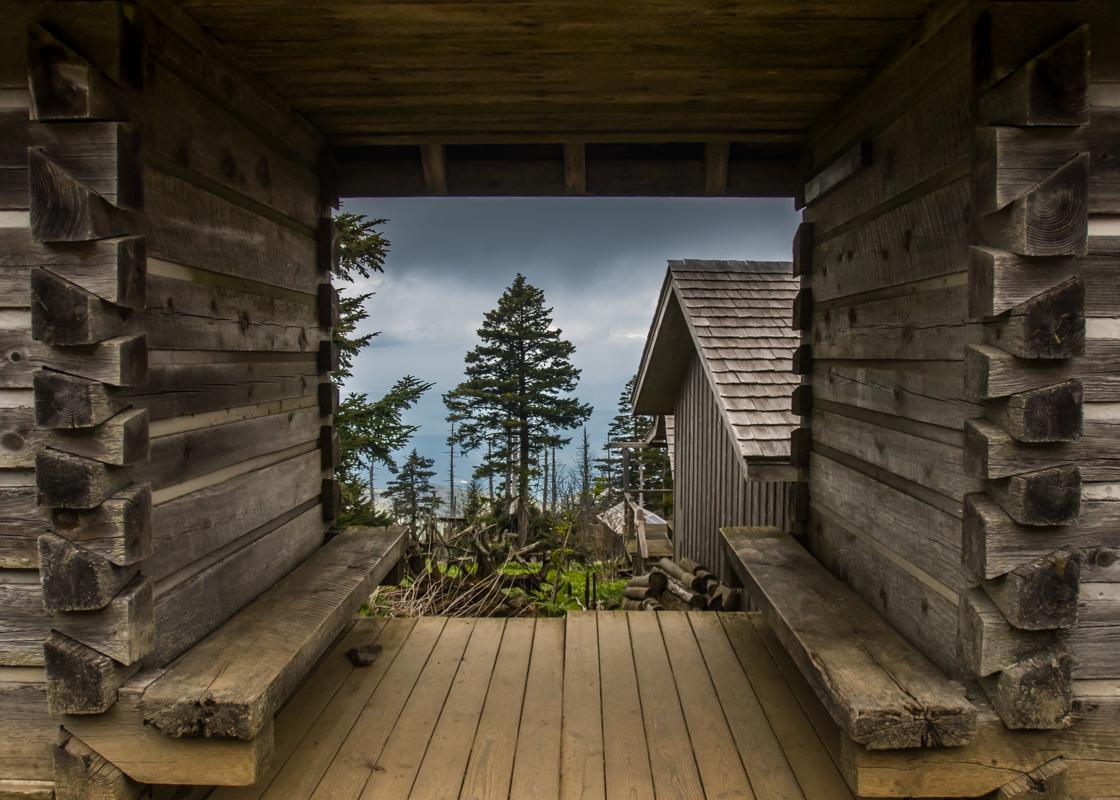 Looking through log cabin in LeConte Village