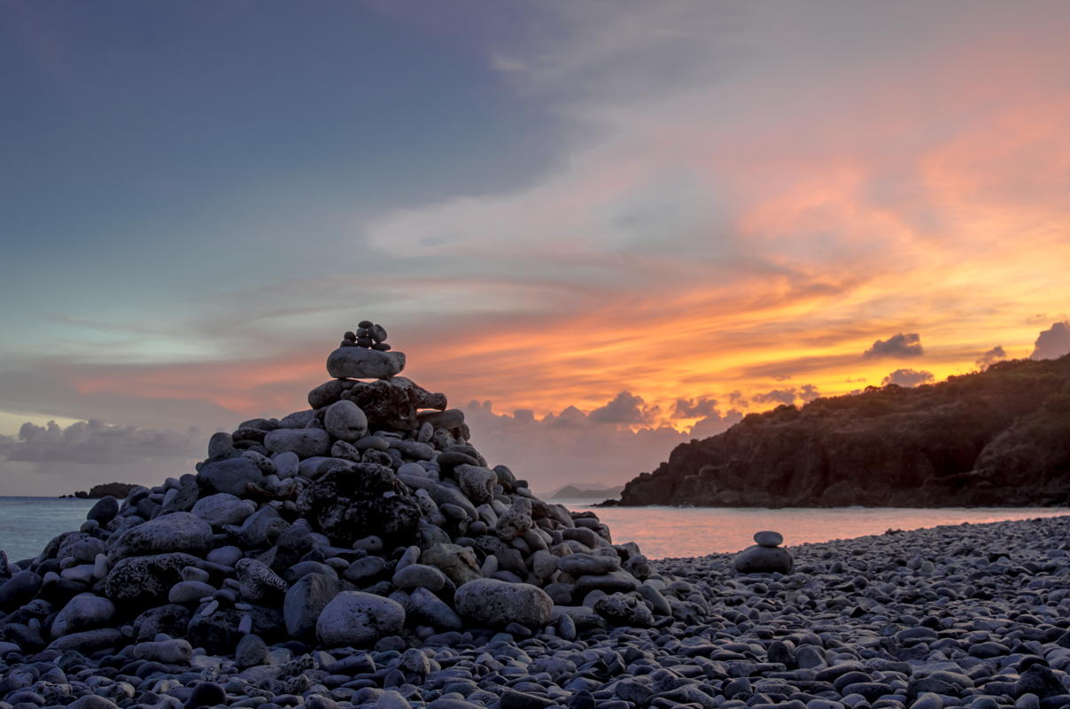 Cairn and Sunset in Drunk Bay