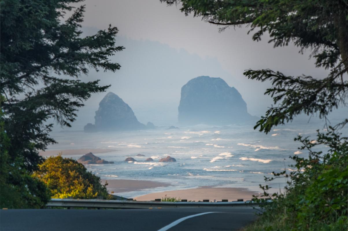 Peeking Over the Road to Haystock Rocks