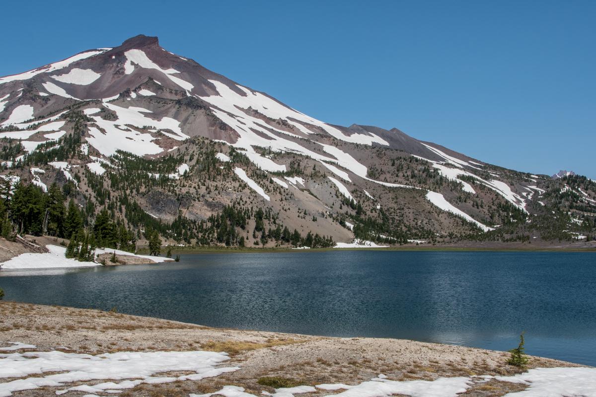 Snow Lingers Around Green Lakes
