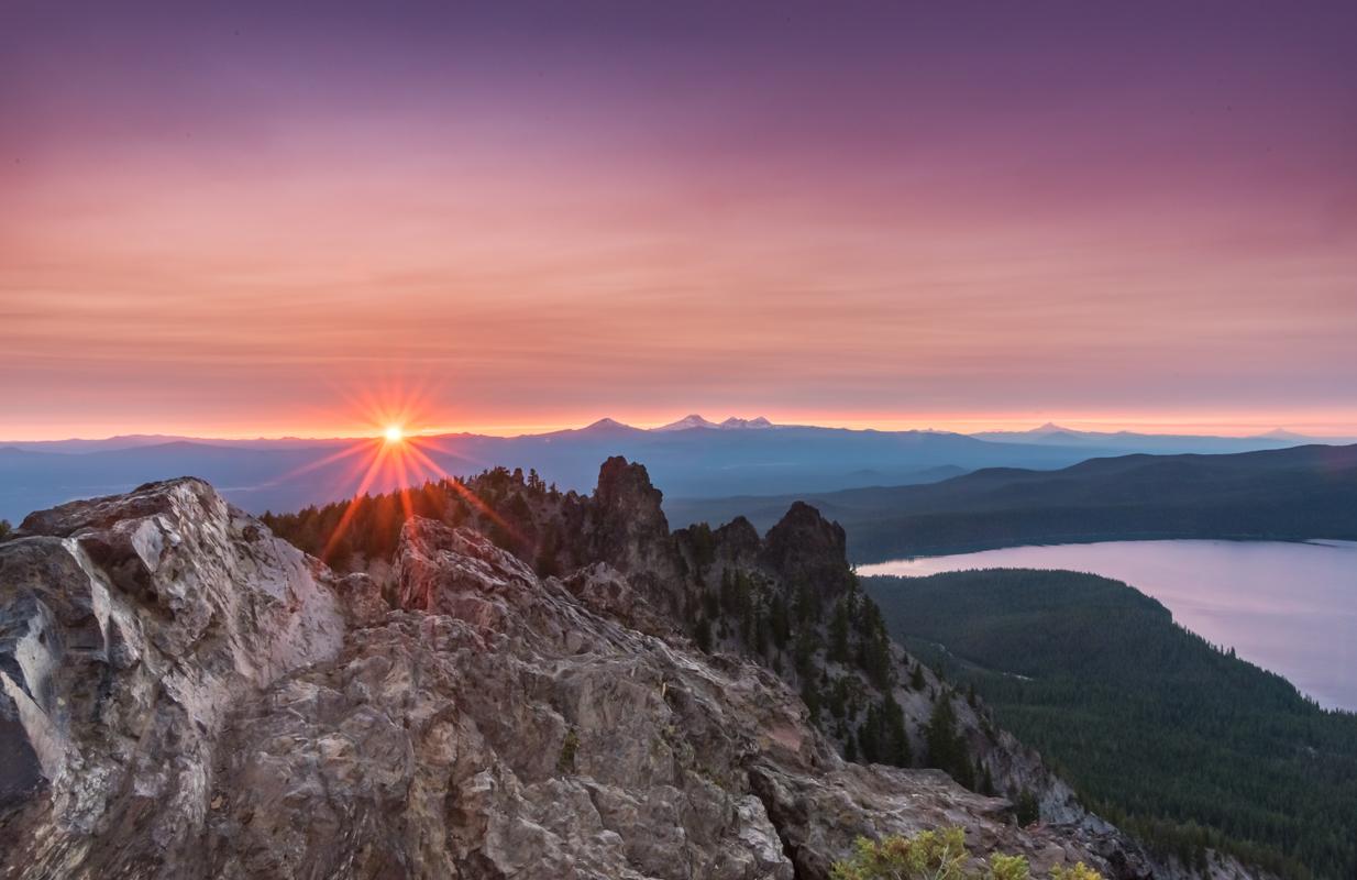 Sunset Burst Over the Rocks on Paulina Peak
