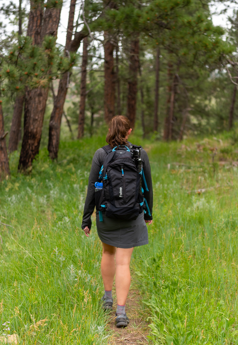 Woman on Narrow Trail Through Prairie