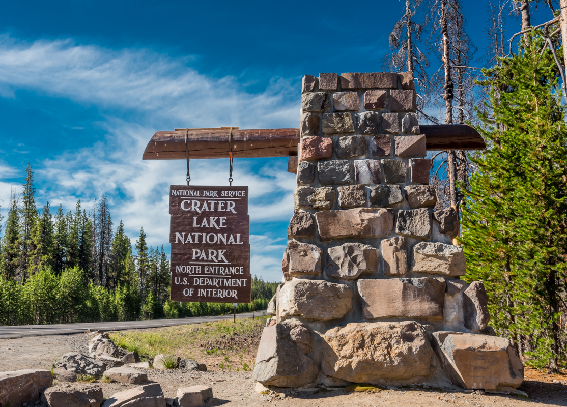 Crater Lake North Entry Sign