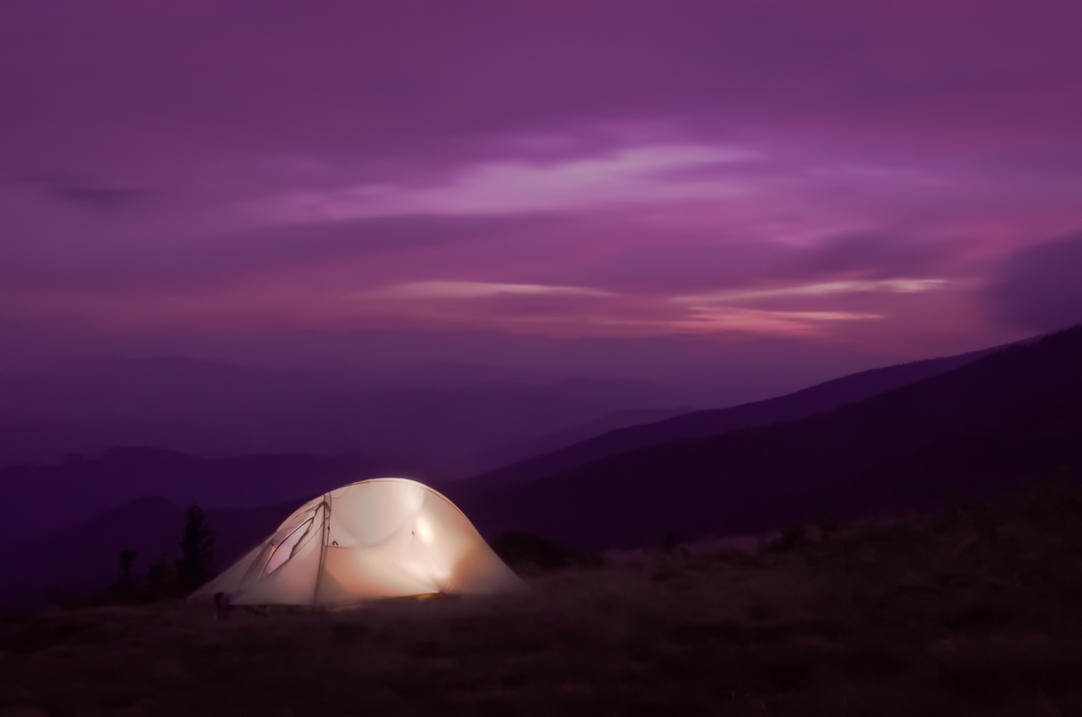 Lit up tent at Sunset