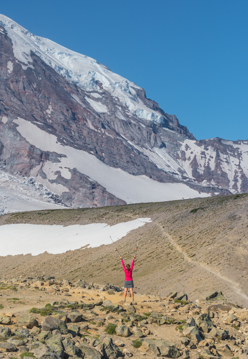 Female Hiker Celebrates a Majestic View