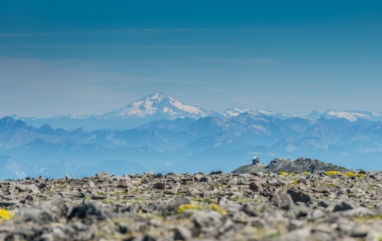 Fire Tower Stands On Ridge in Mount Rainier