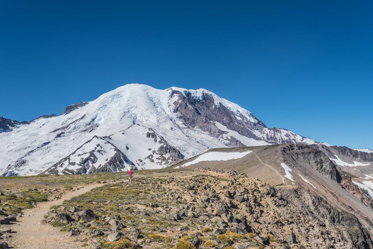 Woman Hikes Burroughs Mountain Trail