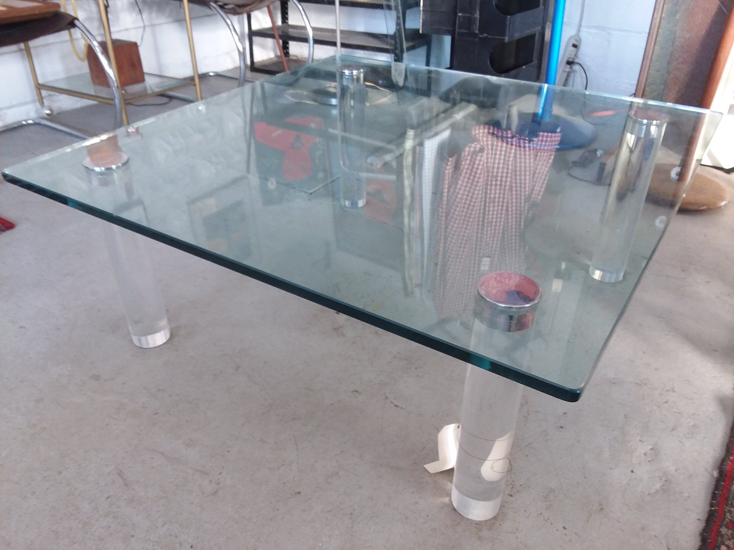 Glass Coffee Table With Lucite Legs Merge Gallery
