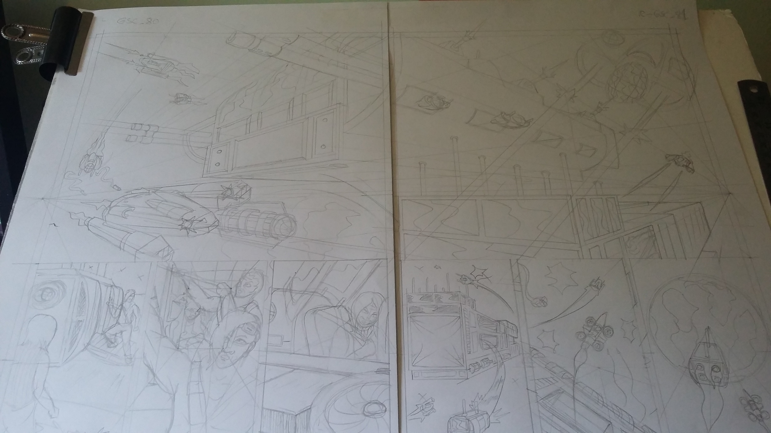 Pencils for the double page spread, two sheets of A3 taped in the middle