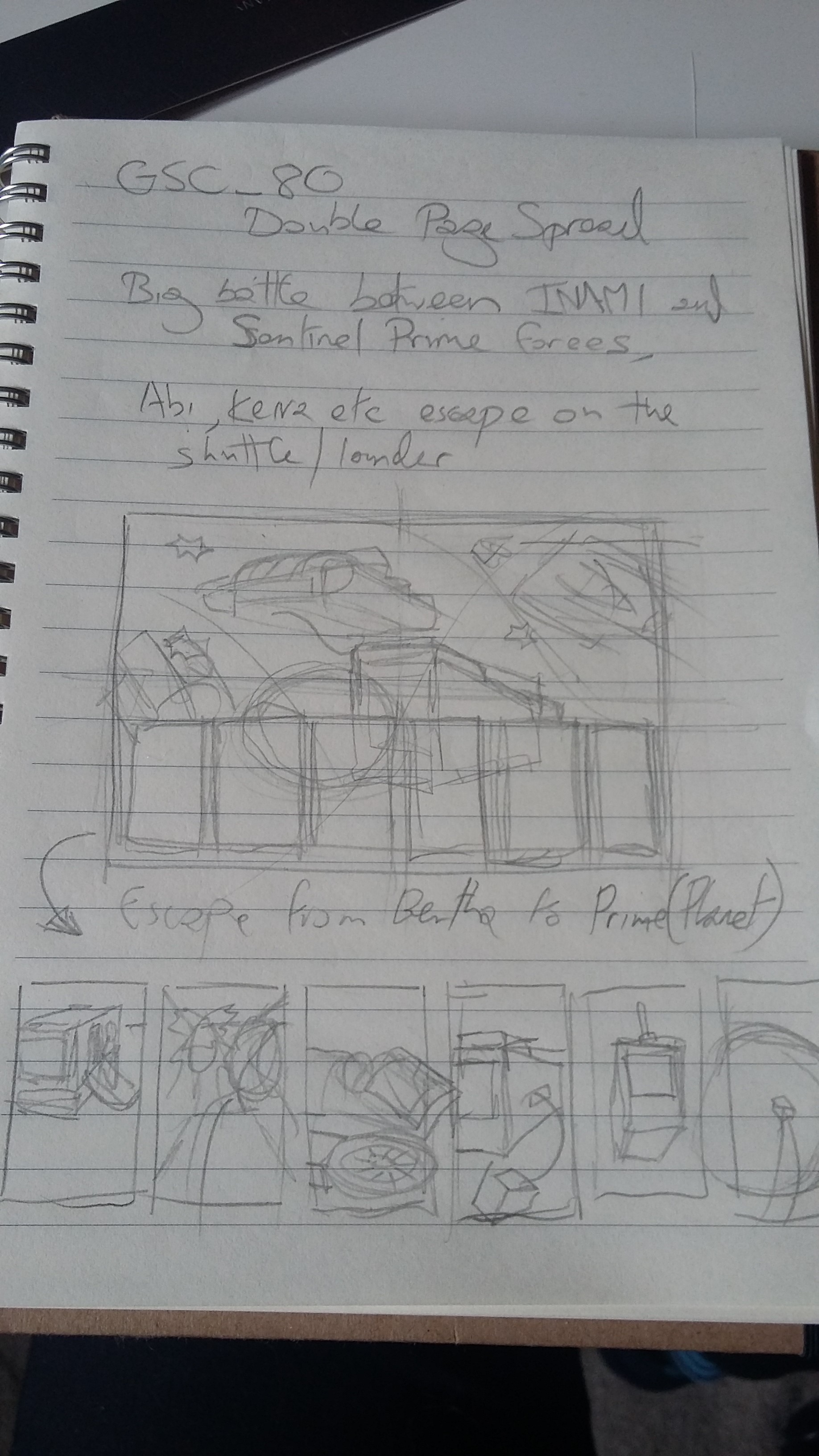 Initial thumbnails and notes on the pages