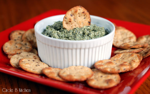sort of lightened up artichoke-                                      spinach dip