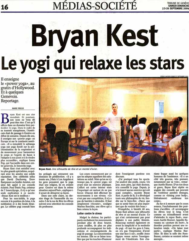 Full page interview in Tribune de Genève with INNERCITYOGA studio founders and special guest Bryan Kest, founder of Poweryoga.