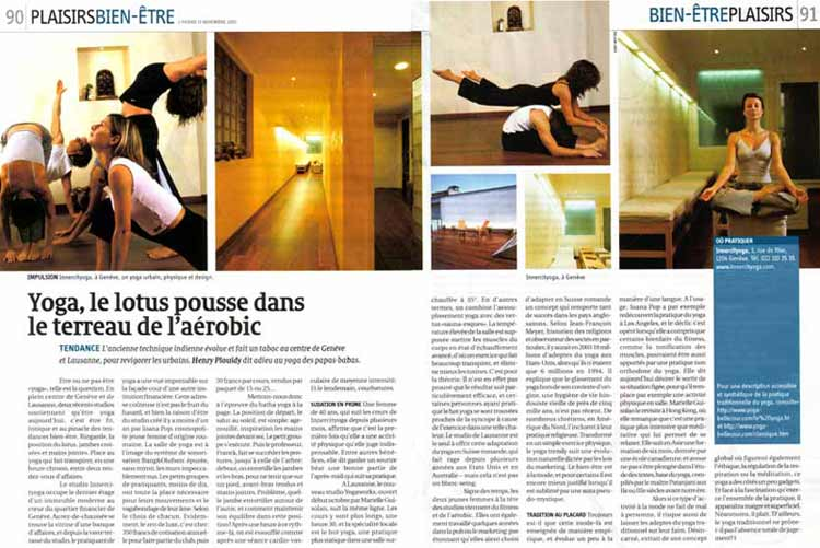 Two-page spread in popular Swiss magazine L'Hebdo about INNERCITYOGA  mission  of Urban Yoga in Geneva, 2003.