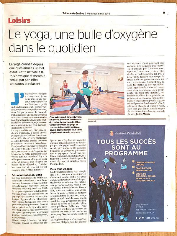 INNERCITYOGA founders interviewed in the Tribune de Genève