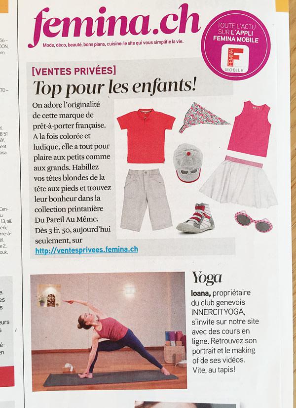 Femina, le magazine le plus populaire en Suisse Romande mandate  Ioana Pop  de INNERCITYOGA pour créer les  vidéos  sur le yoga.